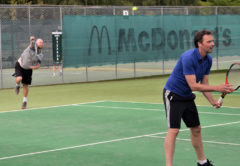 Rapaura Wairau River Blanc duo Glen Cameron, serving, and Ant Walkenhorst during their doubles match on Wednesday. Photo: Peter Jones.