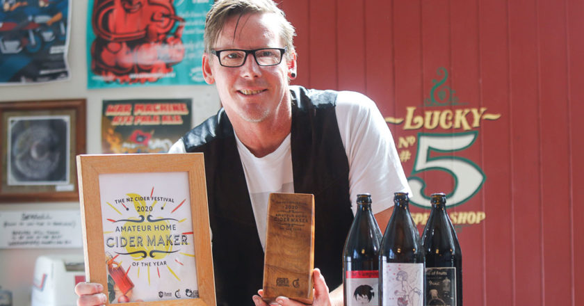 5Tapped owner Haydn Mearns is the inaugural winner of a national cider brewing competition. Photo: Matt Brown.