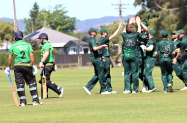 Dolphins batsman Rikki Bovey walks off as the WTTU fielders celebrate another wicket a t Horton Park on Saturday. Photo: Peter Jones.