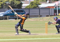 Tim Petrie scored 88 to help MBC clinch a place in the Gillette Cup Central Districts play-offs. Photo: Peter Jones.