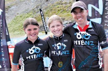 South Island cross country MTB champions: Neve McKenzie, Maddy Sinclair and Ian Thomas. Photo: Supplied.