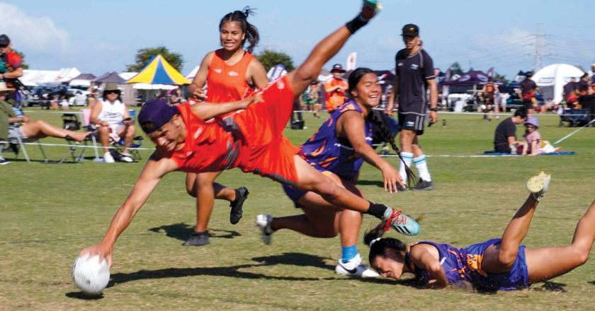 Nikau Peipi flies through the air to score a spectacular touchdown. Photo: Supplied.